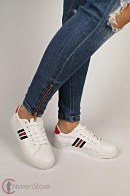 Fehér oldalt csíkos női cipő