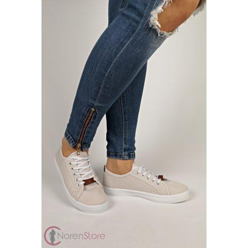 Csíkos sportos női cipő