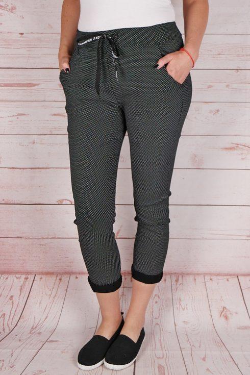 Apró pöttyös, gumis derekú, fekete nadrág M,L,XL