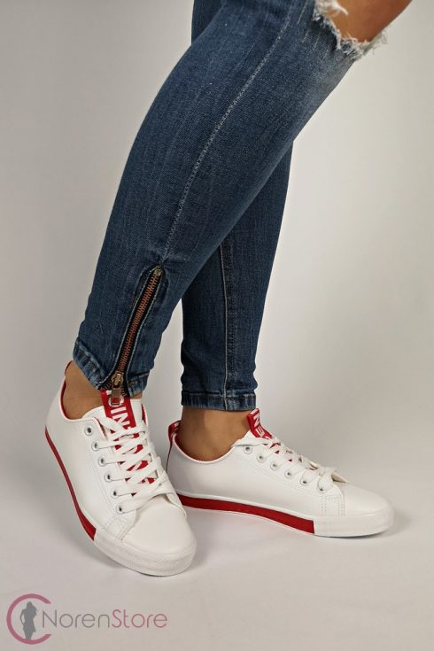 Fehér-piros női cipő