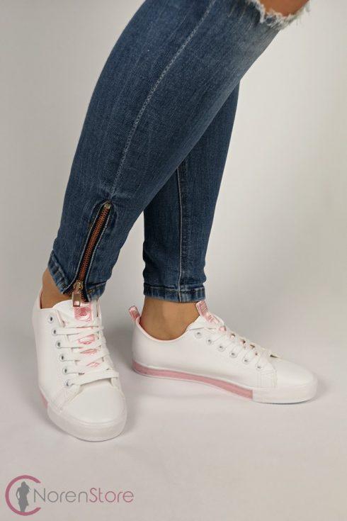 Fehér-rózsaszín női cipő
