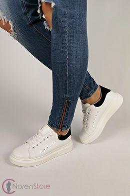 Platform fehér-fekete női cipő