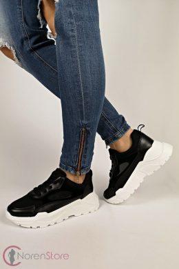 Fekete-fehér magasított talprészű női cipő