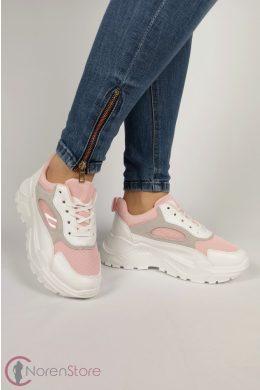 Rózsaszín-fehér magasított talprészű női cipő