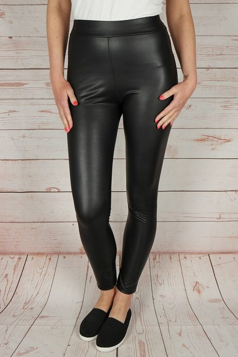 Műbőr, fekete leggings S-M