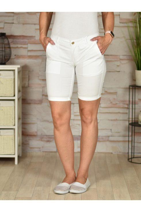 Pamut anyagú, zsebes, fehér rövidnadrág 26,27,29,30,31