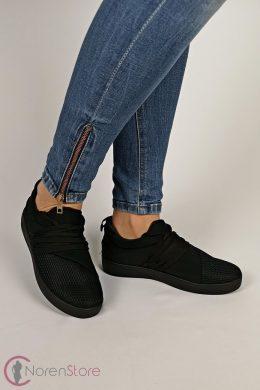 Fekete sportos, fűzős női cipő