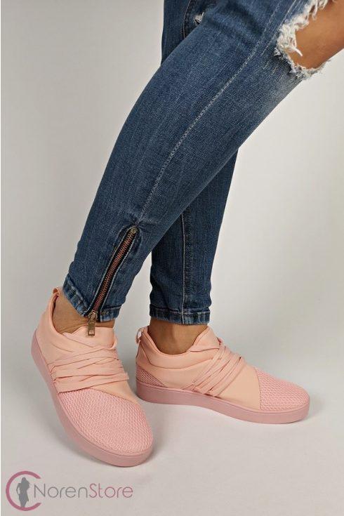 Rózsaszín sportos, fűzős női cipő