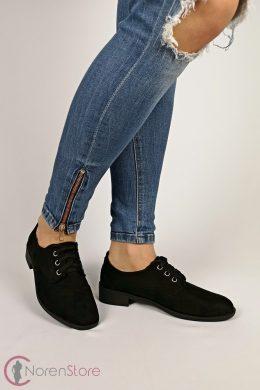 Hasított műbőr fekete női cipő