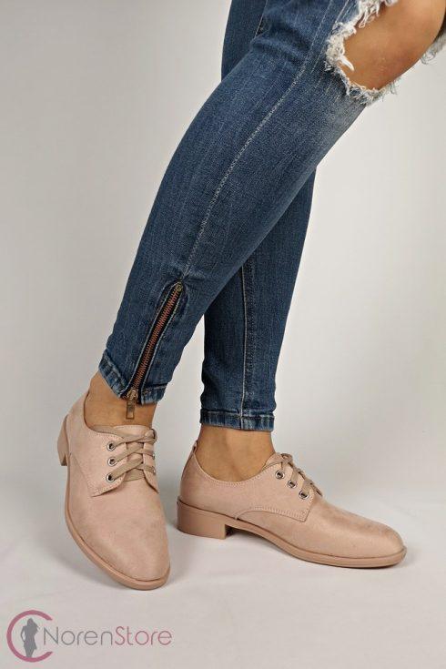 Hasított műbőr rózsaszín női cipő