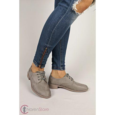 Hasított műbőr szürke női cipő