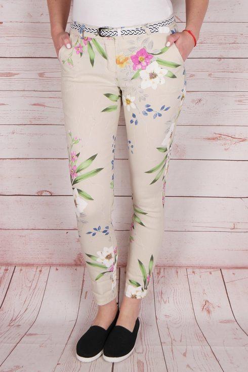 Virágmintás, öves, bézs nadrág XL,XXL