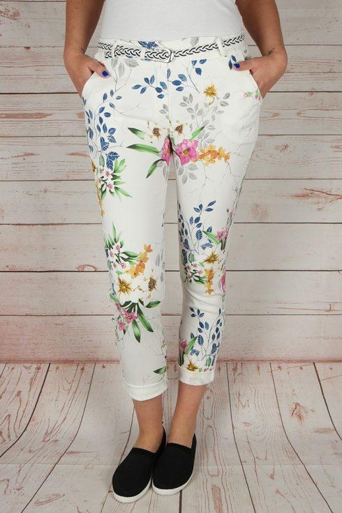 Virágmintás, öves, fehér nadrág S,XL