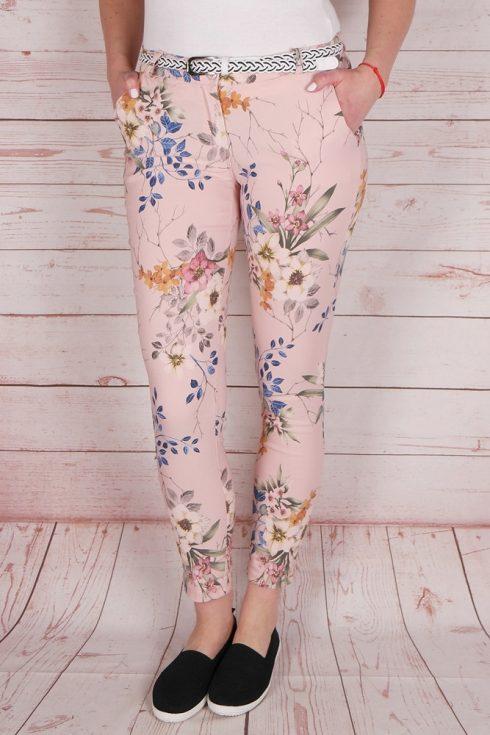 Virágmintás, öves, rózsaszín nadrág S,XL
