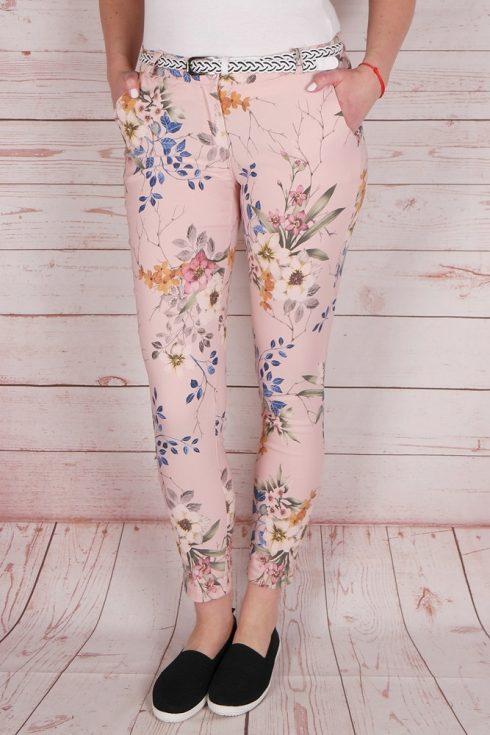 Virágmintás, öves, rózsaszín nadrág S