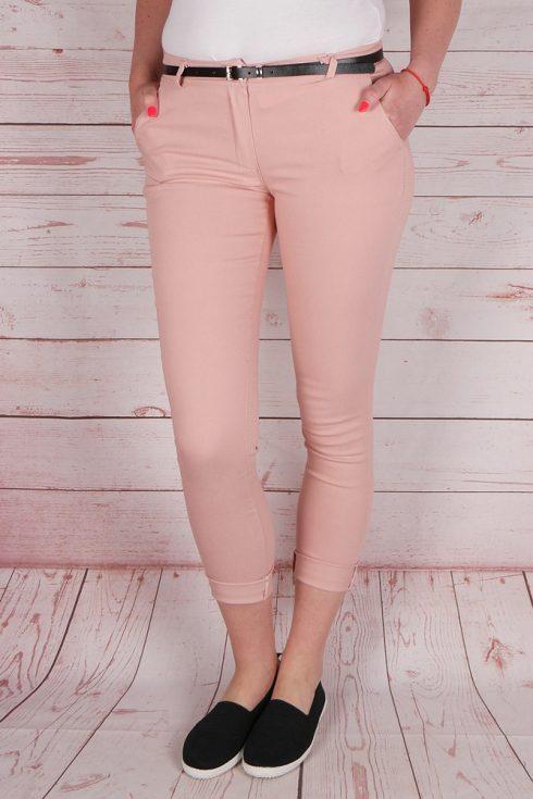 Öves, zsebes, rózsaszín sztreccs nadrág XL