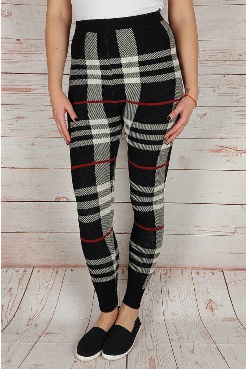 Kockás, vastag anyagú leggings S-M-L (bézs-fekete)